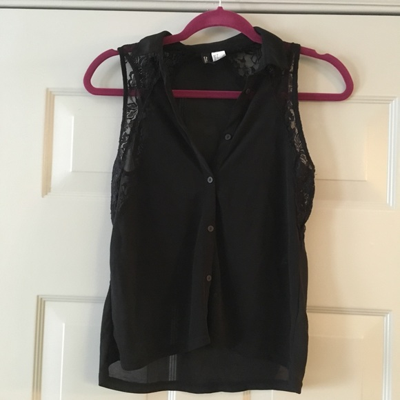 Divided Tops - H&M Black See-Through Shirt